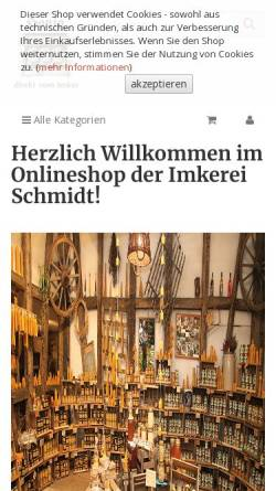 Vorschau der mobilen Webseite www.imkerei-schmidt.de, Imkerei Ralf D. Schmidt