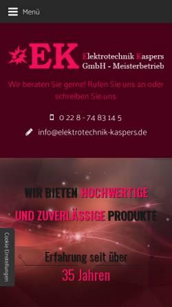 Vorschau der mobilen Webseite www.elektrotechnik-kaspers.de, Elektrotechnik Kaspers