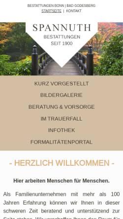 Vorschau der mobilen Webseite www.bestattungen-spannuth.de, Beerdigungsinstitut Spannuth