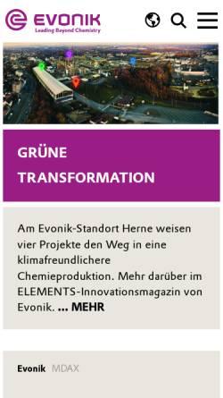 Vorschau der mobilen Webseite www.evonik.de, Evonik Industries AG