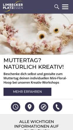 Vorschau der mobilen Webseite www.limbecker-platz.de, Shoppingcenter Limbecker Platz Essen