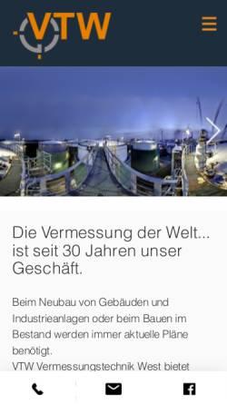 Vorschau der mobilen Webseite www.vtw-gmbh.de, Vermessungstechnik West GmbH