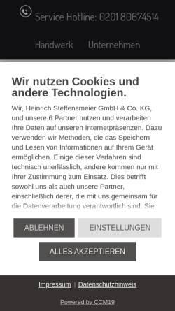 Vorschau der mobilen Webseite www.steffensmeier.de, Heinrich Steffensmeier GmbH & Co. KG