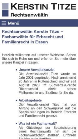 Vorschau der mobilen Webseite www.ra-titze.de, Titze & Rodriguez, Rechtsanwältinnen