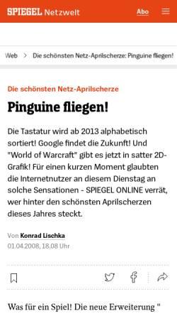 Vorschau der mobilen Webseite www.spiegel.de, Die schönsten Netz-Aprilscherze
