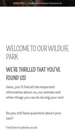 Vorschau der mobilen Webseite www.hochwildpark-rheinland.de, Hochwildpark Rheinland