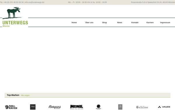 Vorschau von www.unterwegs-muenster.de, Unterwegs Outdoor GmbH