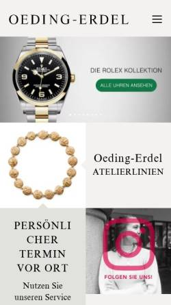 Vorschau der mobilen Webseite www.oeding-erdel.de, Juwelier Oeding-Erdel GmbH & Co. KG