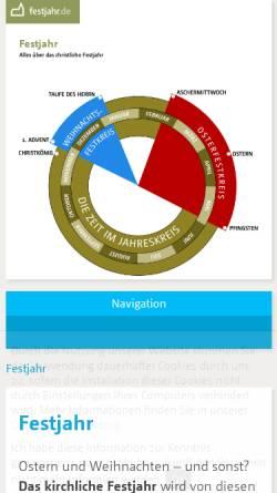 Vorschau der mobilen Webseite www.festjahr.de, Kirchliches Festjahr
