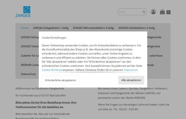 Vorschau von www.aluleitern.de, Beckmann-Steigtechnik, Inhaber Dirk Beckmann