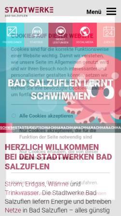 Vorschau der mobilen Webseite www.stwbs.de, Stadtwerke Bad Salzuflen