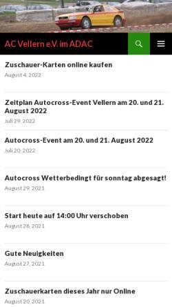 Vorschau der mobilen Webseite www.ac-vellern.de, Altwagen Club - Vellern e.V.