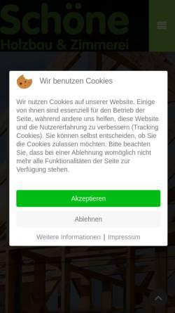 Vorschau der mobilen Webseite www.holzbau-schoene.de, A. Schöne GmbH & Co. KG, Holzbau und Zimmerei