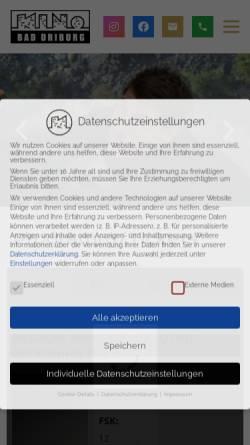 Vorschau der mobilen Webseite www.kinodriburg.de, Kino Brakel