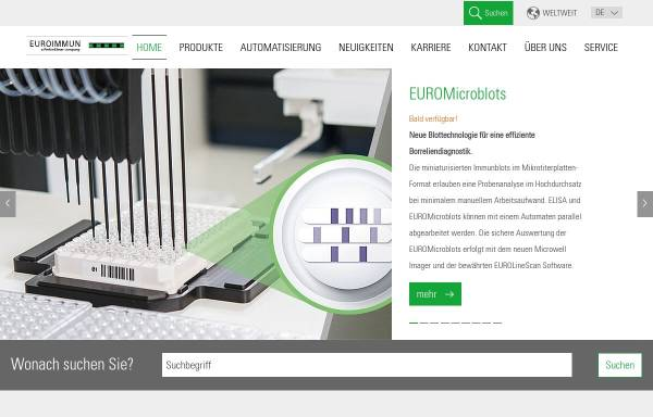 Vorschau von www.euroimmun.de, Euroimmun Medizinische Labordiagnostik AG