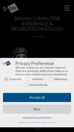 Vorschau der mobilen Webseite www.gtec.at, G.Tec Guger Technologies OEG