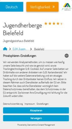 Vorschau der mobilen Webseite bielefeld.jugendherberge.de, Jugendherberge Bielefeld