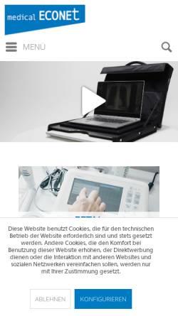 Vorschau der mobilen Webseite www.medical-econet.com, Medical Econet GmbH - Medizintechnischer Großhandel