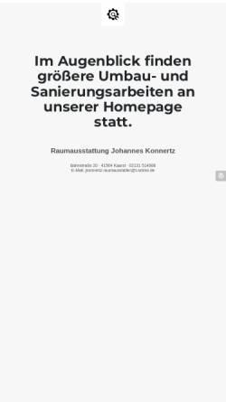 Vorschau der mobilen Webseite www.jk-wohntraeume.de, Raumausstatter Johannes Konnertz