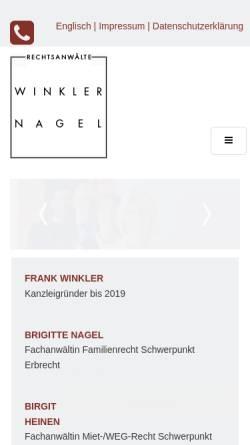 Vorschau der mobilen Webseite www.anwaelte-kempen.de, Rechtsanwälte Frank Winkler, Brigitte Nagel, Birgit Heinen und Gilbert Schröder