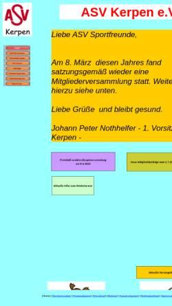 Vorschau der mobilen Webseite www.asv-kerpen.de, Allgemeiner Sportverein Kerpen e. V.