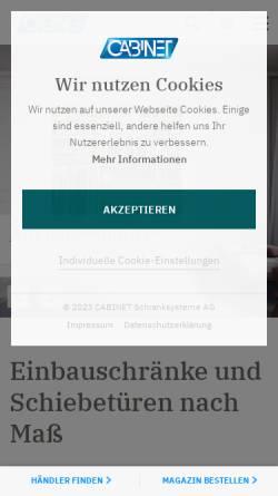 Vorschau der mobilen Webseite www.cabinet.de, Cabinet Schranksysteme AG