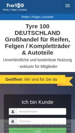 Vorschau der mobilen Webseite www.tyre100.de, Tyre100