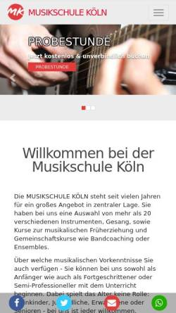 Vorschau der mobilen Webseite www.koeln-musikschule.com, Musikschule Köln e.V.