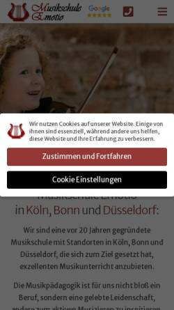 Vorschau der mobilen Webseite www.musikschule-emotio.de, Musikschule Emotio