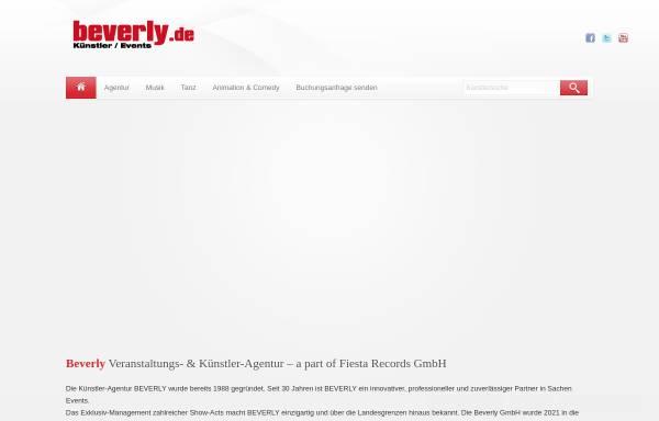 Vorschau von www.beverly.de, Beverly Künstler- & Veranstaltungsagentur GmbH
