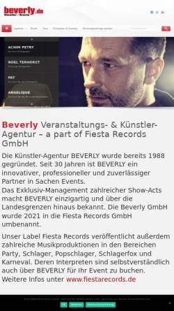 Vorschau der mobilen Webseite www.beverly.de, Beverly Künstler- & Veranstaltungsagentur GmbH