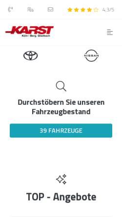Vorschau der mobilen Webseite www.autohaus-karst.de, Autohaus Karst