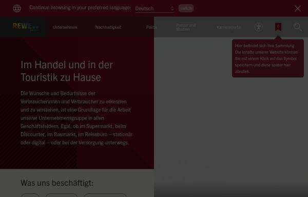 Vorschau von www.rewe-group.com, REWE-Zentral-Aktiengesellschaft