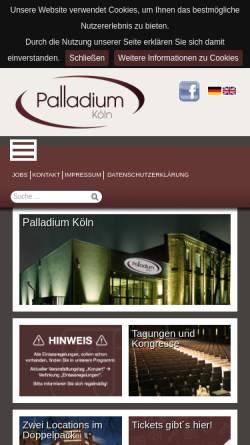 Vorschau der mobilen Webseite www.palladium-koeln.de, Palladium