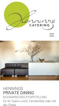 Vorschau der mobilen Webseite www.hennings-catering.de, Henning´s Catering