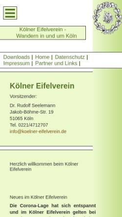 Vorschau der mobilen Webseite koelner-eifelverein.de, Kölner Eifelverein e.V.