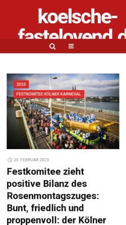 Vorschau der mobilen Webseite www.koelsche-fastelovend.de, Koelsche-Fastelovend.de