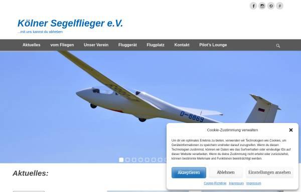 Vorschau von www.koelner-segelflieger.de, Kölner Segelflieger e.V.