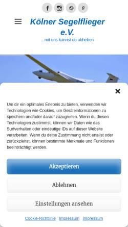 Vorschau der mobilen Webseite www.koelner-segelflieger.de, Kölner Segelflieger e.V.