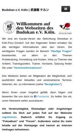 Vorschau der mobilen Webseite www.budokan-koeln.de, Budokan e.V. Köln