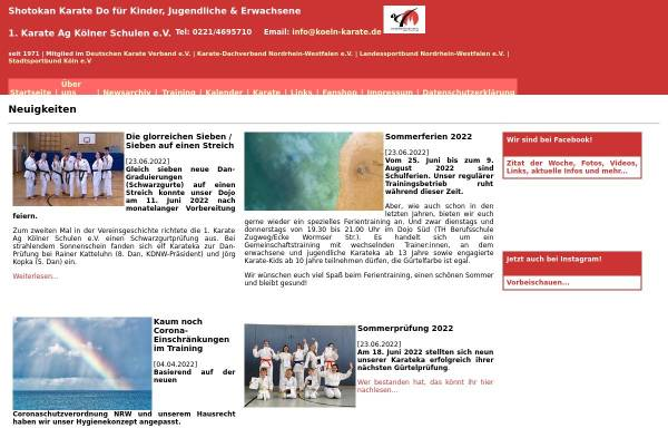 Vorschau von www.koeln-karate.de, 1. Karate AG Kölner Schulen e.V. - Shotokan-Karate-Do