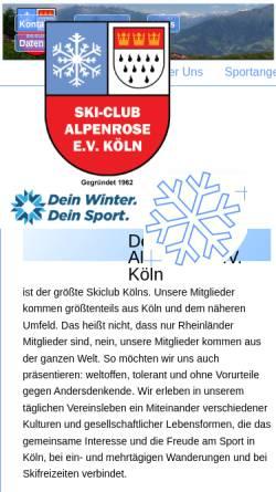 Vorschau der mobilen Webseite www.skiclub-alpenrose-koeln.de, Skiclub Alpenrose e.V.