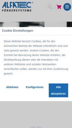 Vorschau der mobilen Webseite www.alfatec.biz, Alfatec GmbH Fördersysteme