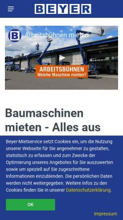 Vorschau der mobilen Webseite www.beyer-baumaschinen.de, Beyer-Baumaschinen, Inh. Dieter Beyer