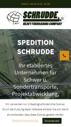 Vorschau der mobilen Webseite www.spedition-schrudde.de, Spedition Gregor Schrudde