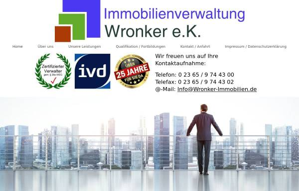 Vorschau von www.wronker-immobilien.de, Wronker Immobilien & Hausverwaltungen e. Kfm.