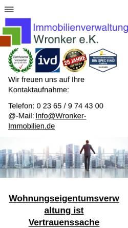 Vorschau der mobilen Webseite www.wronker-immobilien.de, Wronker Immobilien & Hausverwaltungen e. Kfm.