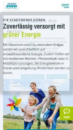 Vorschau der mobilen Webseite www.stadtwerke-dueren.de, Stadtwerke Düren