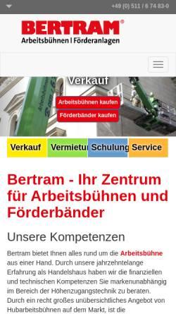 Vorschau der mobilen Webseite www.bertram-hannover.de, Gustav Bertram GmbH