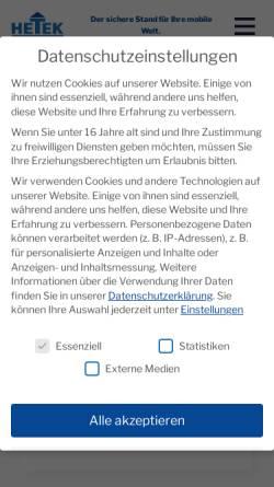 Vorschau der mobilen Webseite www.hetek.de, HETEK Hebetechnik GmbH